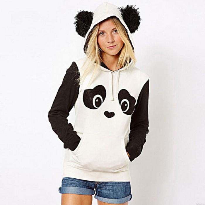 L'hiver Mignon Hairball Panda Animaux Hoodies Épaissir Toison Sweatshirts
