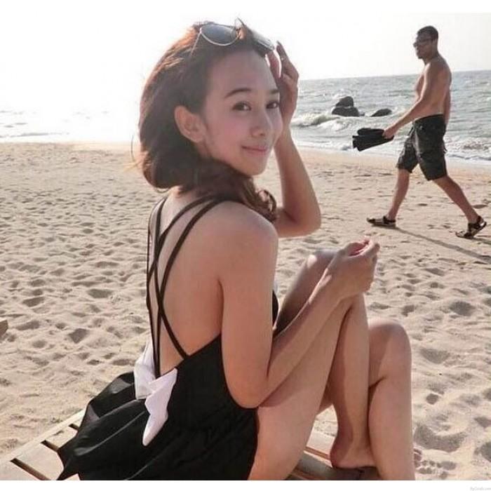 One-Piece Sexy Cross Halter Bikinis Set Big Bow Swimwear Beach Bathing Suit