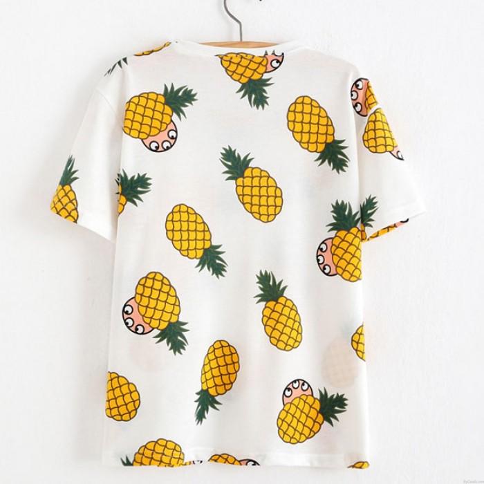 Unique Pineapple Printed Fruit Cotton Summer T-Shirts