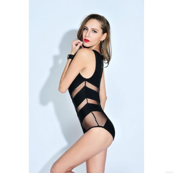 Black Mesh Bathingsuit Siamese Triangle Swimsuit Bikini Set Swimwear