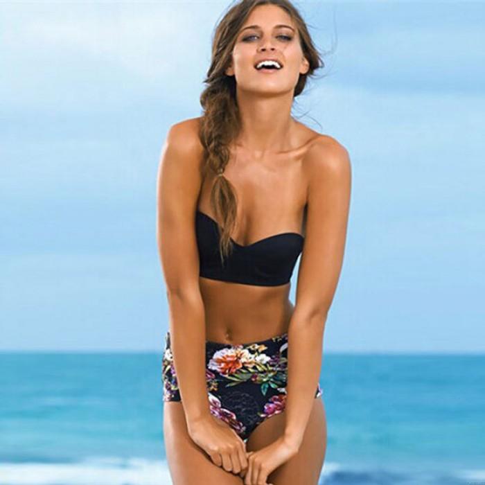 Sexy Black Bra Bikini Triangle Floral Printed Swimwear