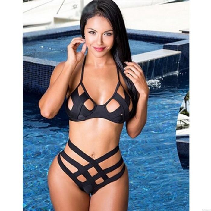 Hollow Out Bikini Black Bandage Triangle Swimsuits Bikini Set