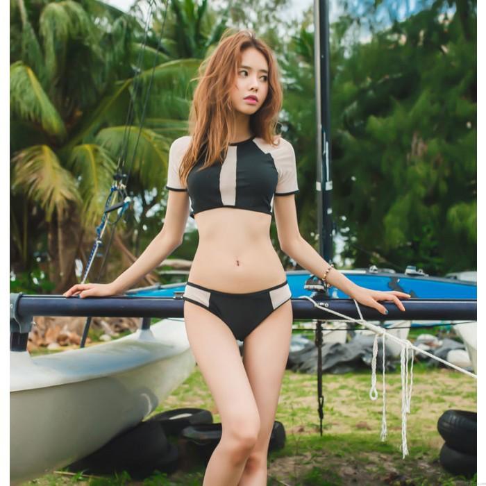 Stitching Perspective Bikini Sexy Women Constast Color Beachwear Swimwear