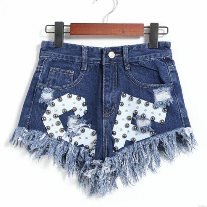 New Letters Printed Ragged Edges Rivet High Waist Denim Shorts Jeans Wonmen Shorts