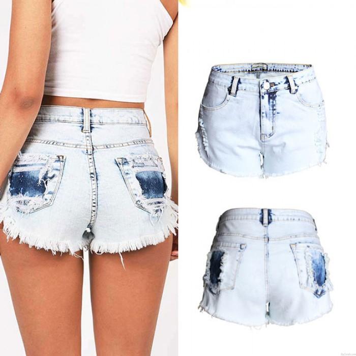 New High Waist Hole Jeans Washed Flash Denim Shorts Plus Size Wonmen Shorts