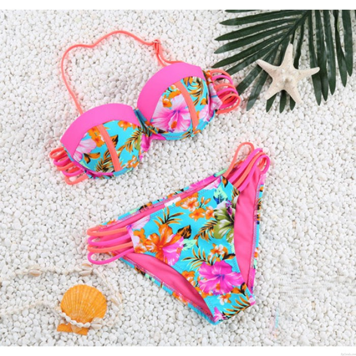 Bandage Palm Tree And Floral Printed Swimsuit Sexy Bikini Swimwear Bathingsuit