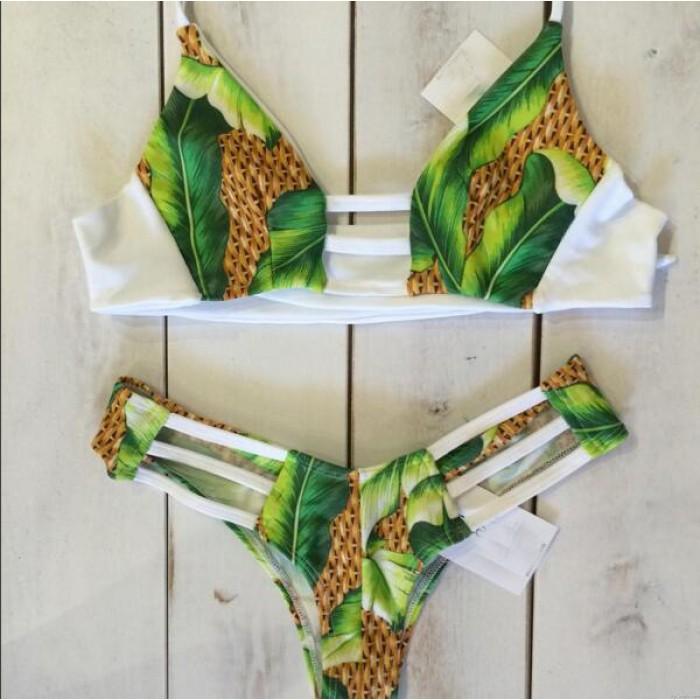 Sexy Pineapple Print Bandage Bikini Swimsuit Swimwear