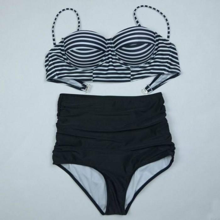 Fashion Stripe Printed Top Swimsuit Sexy Bikini Swimwear Bathingsuit