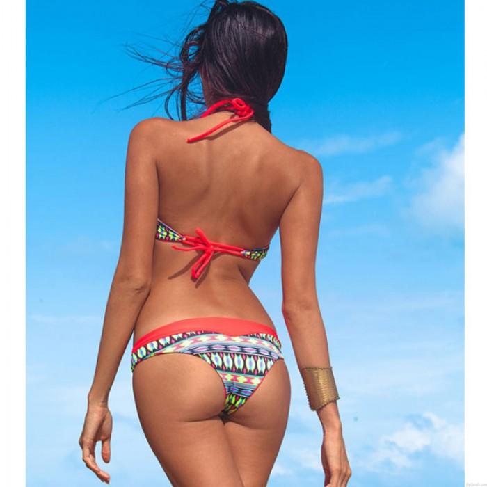 Folk Red Swimsuit Sexy Bikini Swimwear Bathing Suit