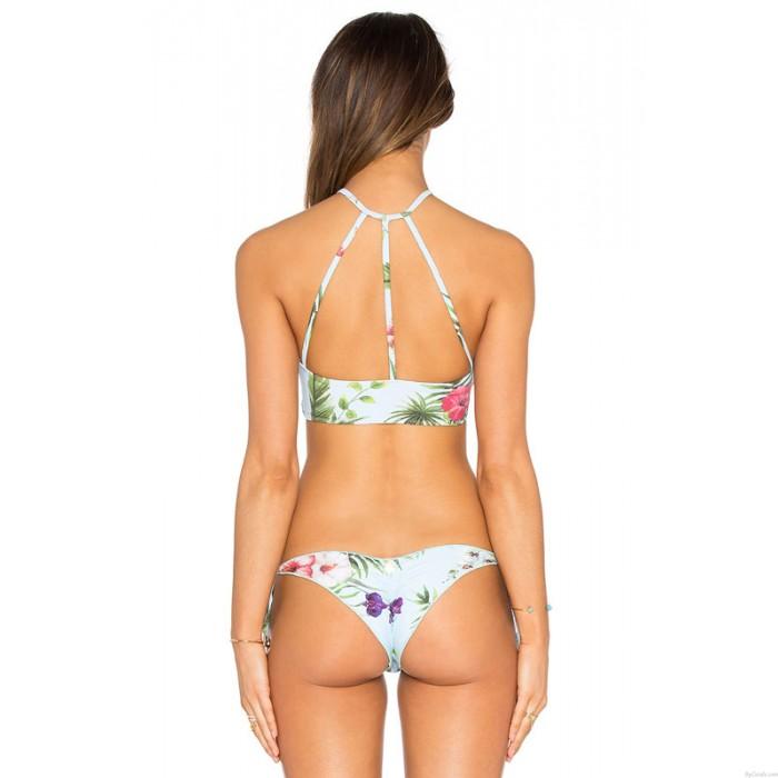 New Phalaenopsis Printing Bikini Swimsuit Beach Swimwear Bathingsuit