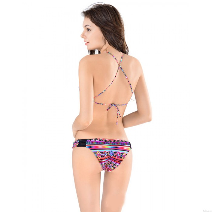 Secret Printing Bikini Set Cross Straps Swimsuit Swimwear Bathingsuit