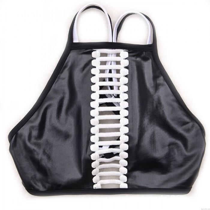 Fashion Black Low-waist Bandage Bikini Set Swimsuit Swimwear Bathingsuit