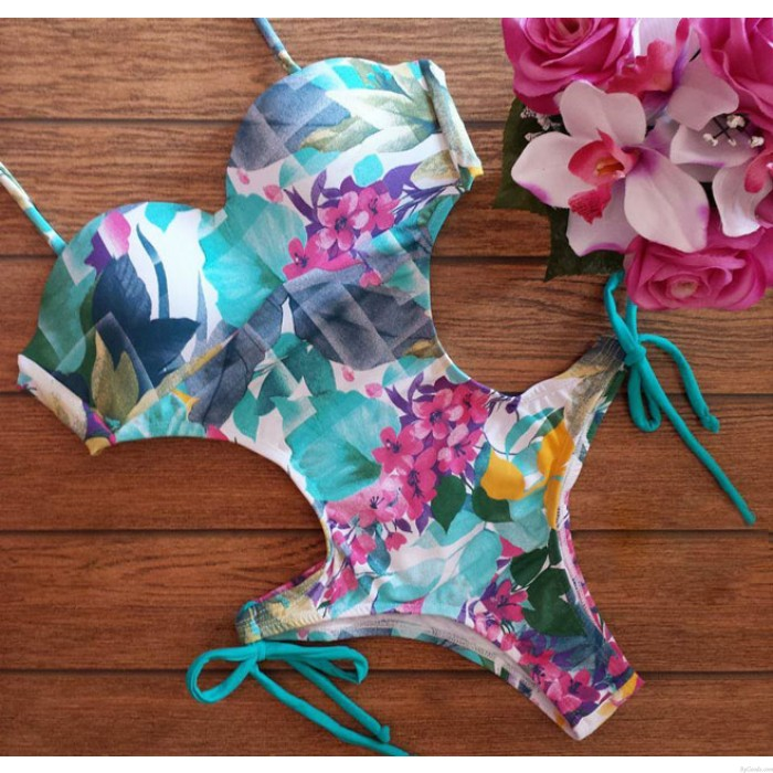 Floral Print Swimsuit Sexy Bikini Bandage Swimwear One Piece Bathingsuit