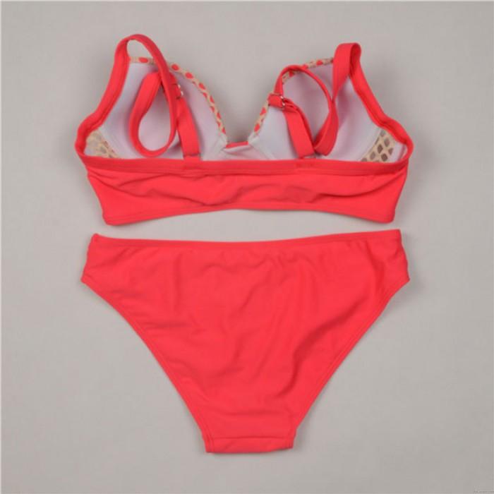Grid Splicing Hollow Sexy Bikini Set Swimsuit Orange Pink Swimwear