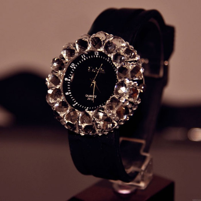 Mode faux diamant Réduire Caoutchouc Sangle Quartz Montres