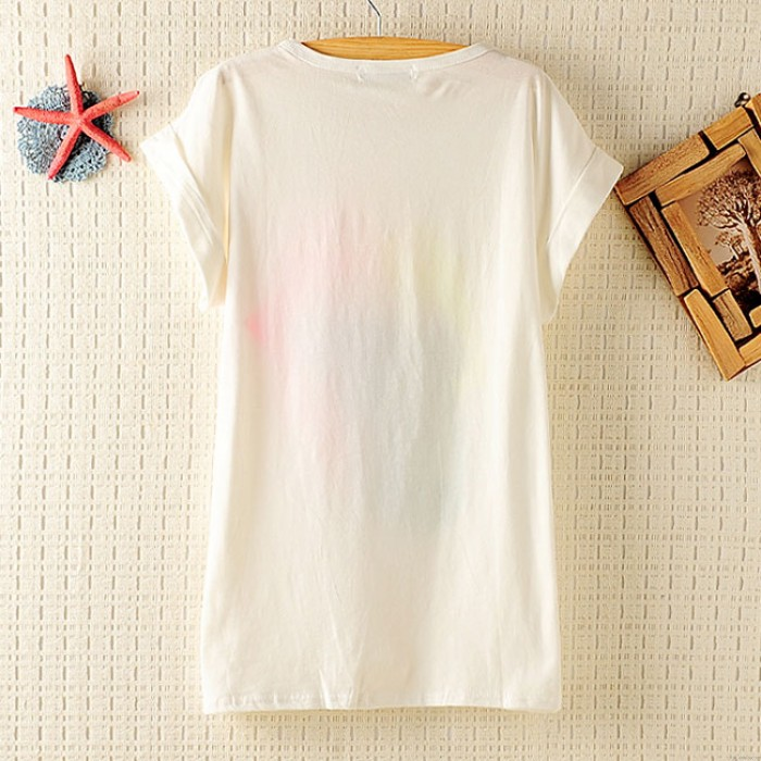 Shining Beaded  Printed Short-sleeved T-shirt