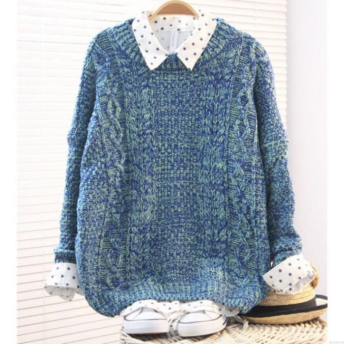 Vintage Cream-colored Rough Twist Sleeve Sweater