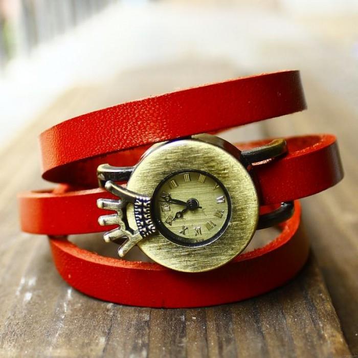 montre en cuir vintage trois tours wrap couronne cadran