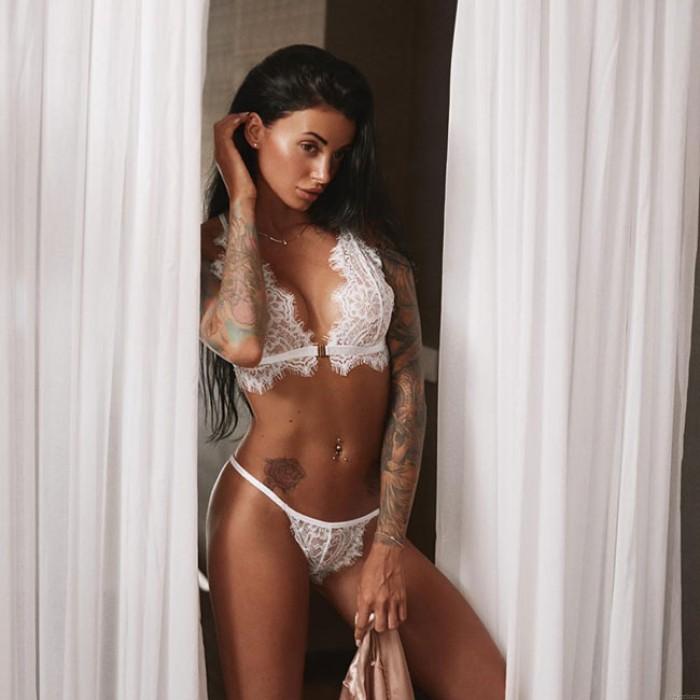 Sous-vêtement en dentelle blanche Bikinis Lingerie