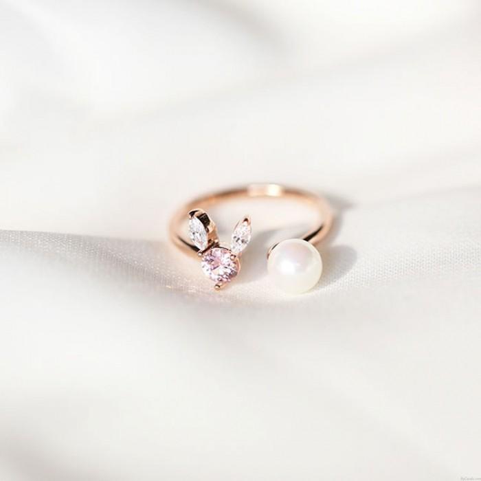 Bague ouverte mignonne de lapin en argent cristal perle