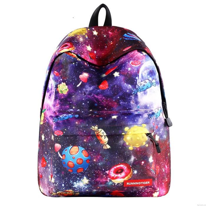 Bande dessinée mignonne de bonbons de sac d'étudiant étoilé Galaxie Sac à dos scolaire