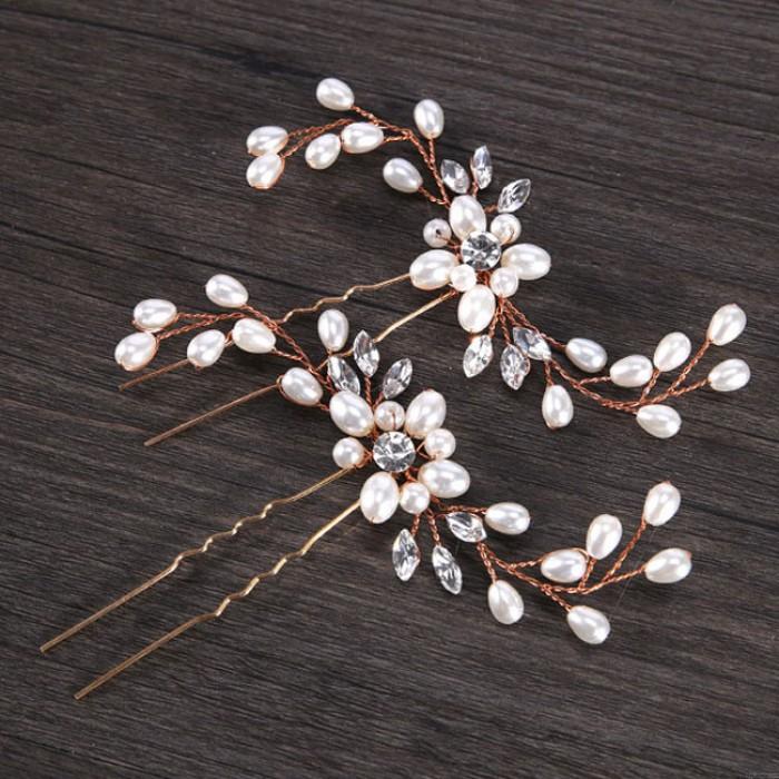 Fleur de mode perle bandeau mariage accessoires de cheveux laisse pinces à cheveux