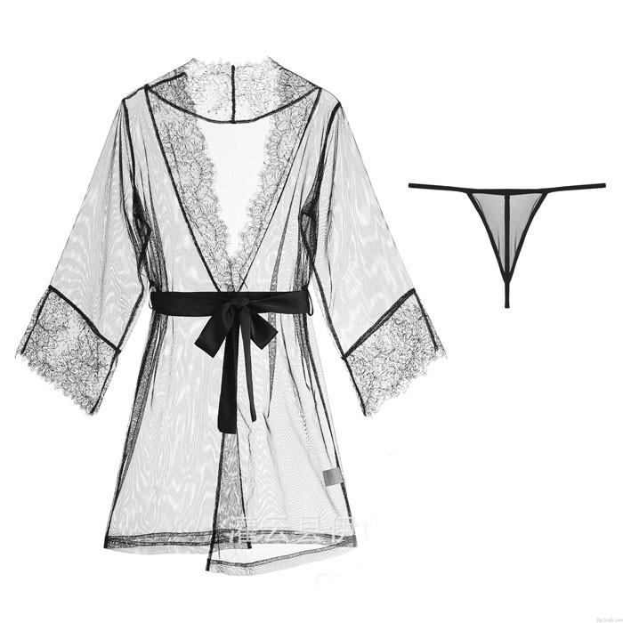 Sexy dentelle bandage chemise de nuit pyjamas lâche maille Robe Lady lingerie intime