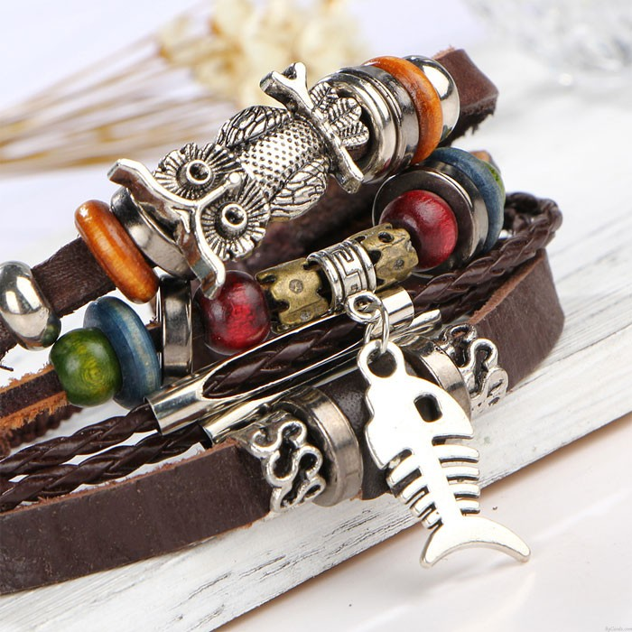 Bracelet tissé de poissons de hibou d'alliage multicouche en cuir perlé rétro