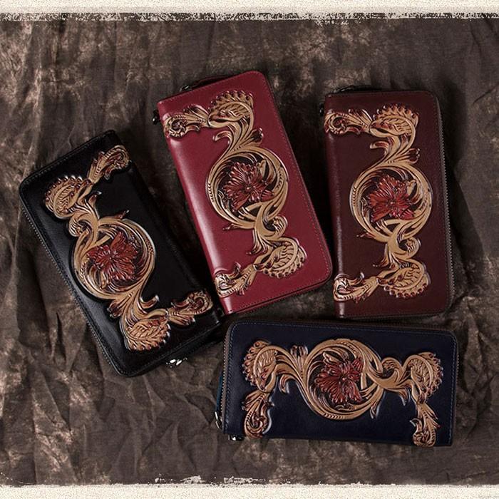 Cuir rétro gaufrage sculpté téléphone sac à main sac d'embrayage fleur portefeuille long
