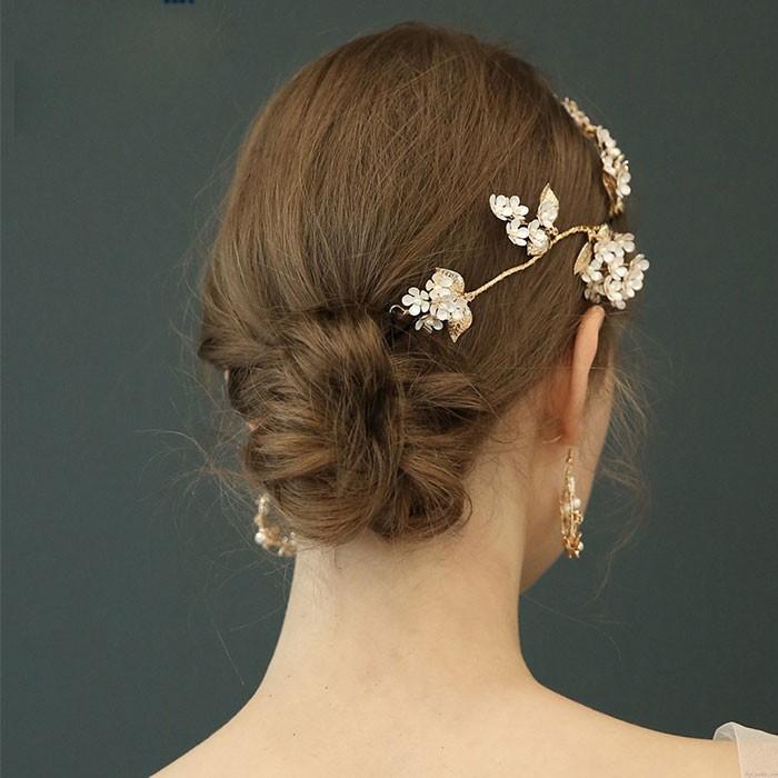 Branche de fleurs de mariée en épingle à cheveux originale unique laisse des accessoires de cheveux de mariage