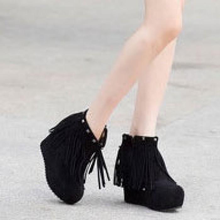 Mode Rivet Bordé Épais Coin Talon Chaussures