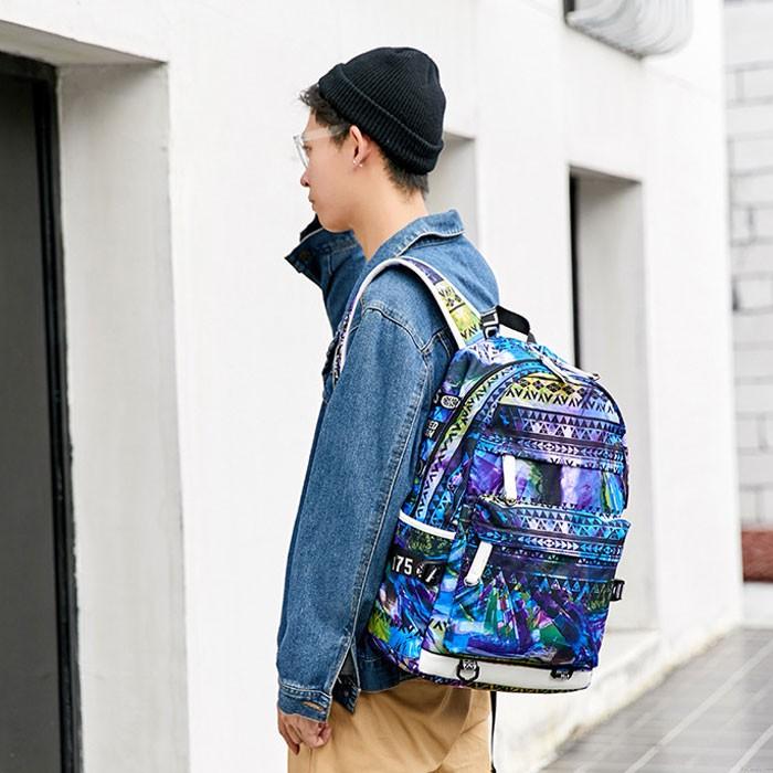 Mode adolescent unique coloré forme irrégulière grande capacité étanche jeune étudiant sac à dos