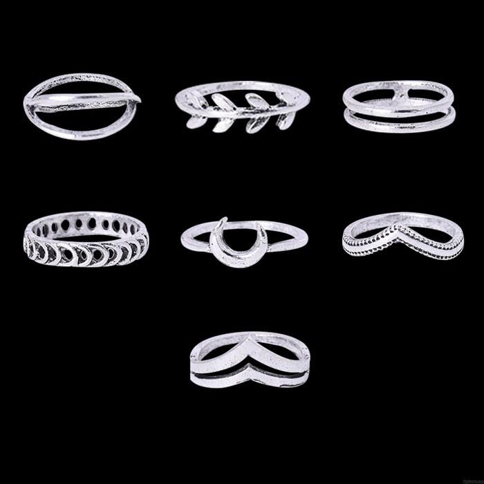 Jolie bague personnalisée avec croix de lune petite bague à la mode, ensemble de 7 pièces bague combinée