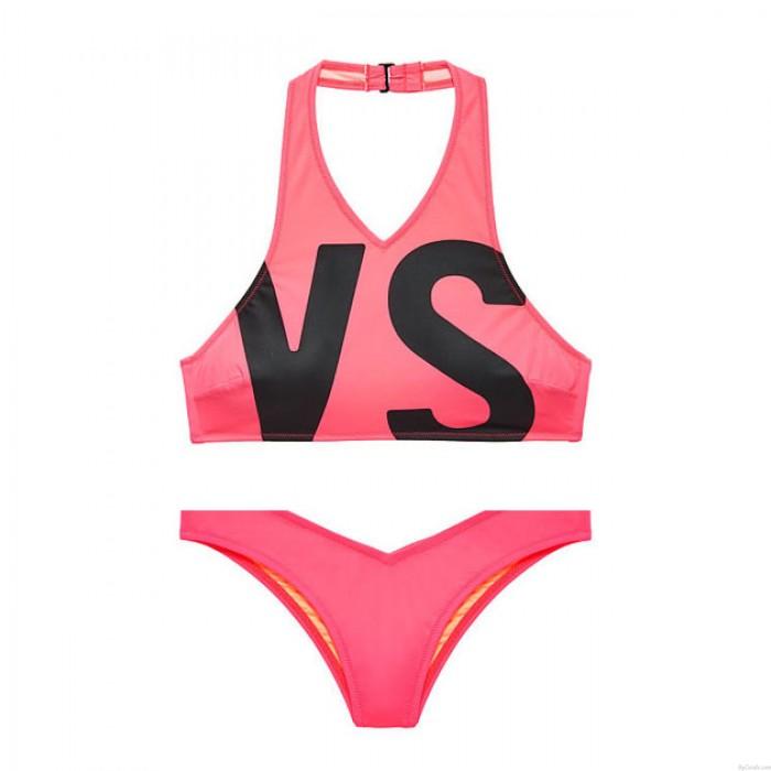 Unique  Printed Athletic Bikini Set Letters VS Swimsuit Swimwear Bathingsuit