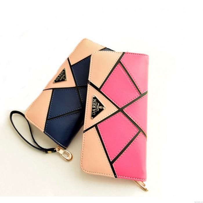 Géométrie de mode Contraste Couleur Wallet