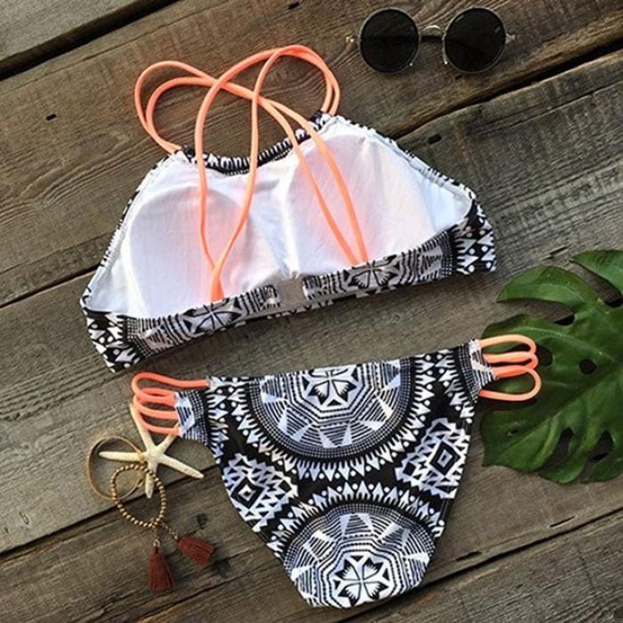 Sexy Géométrie Totem Impression Maillots de bain Halter Bikini Maillot de bain
