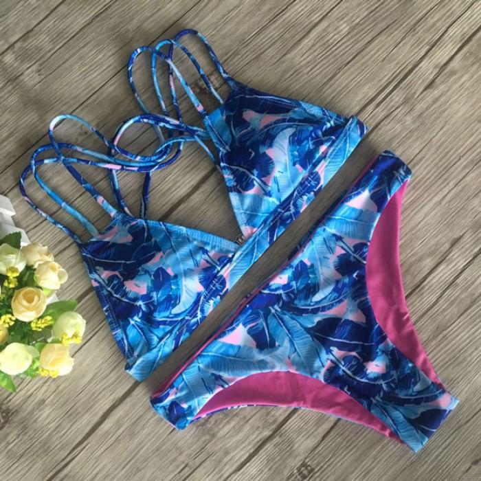 Ensemble Bikini Imprimé Bleu Feuilles de Banane Fashion