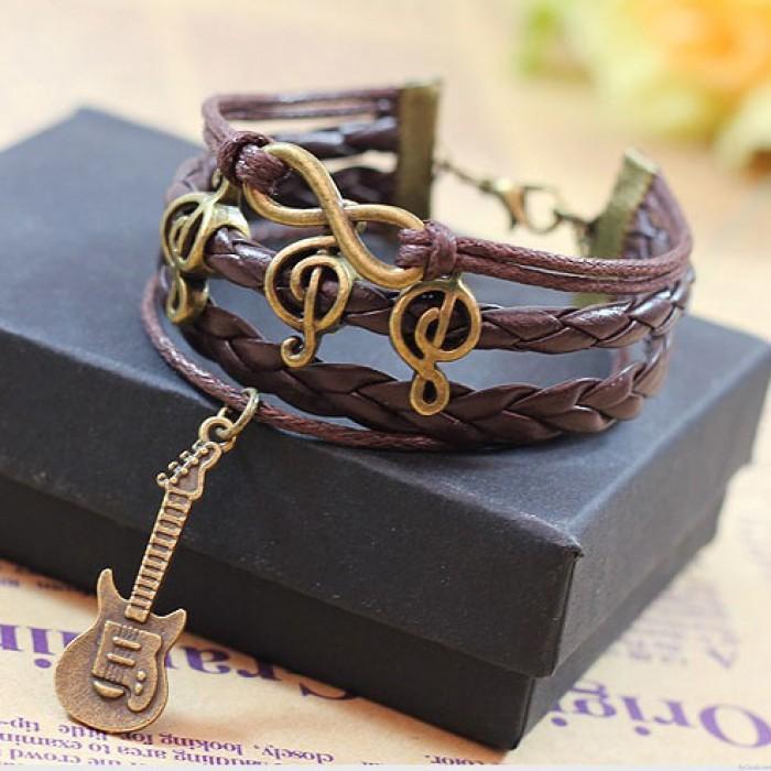 Happy Music Notes Guitar Infinity Music Bracelet