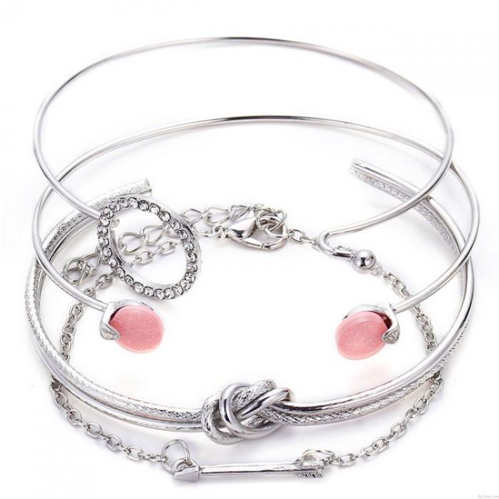 Personnalité Simple Mignon Noué Cercle Diamant Flèche Bracelet Ouvert Quatre Pièces