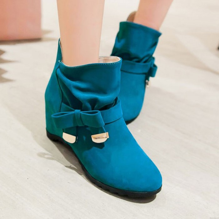 Hauteur En augmentant Chaussures Arc Nœud Boucle Martin Bottes