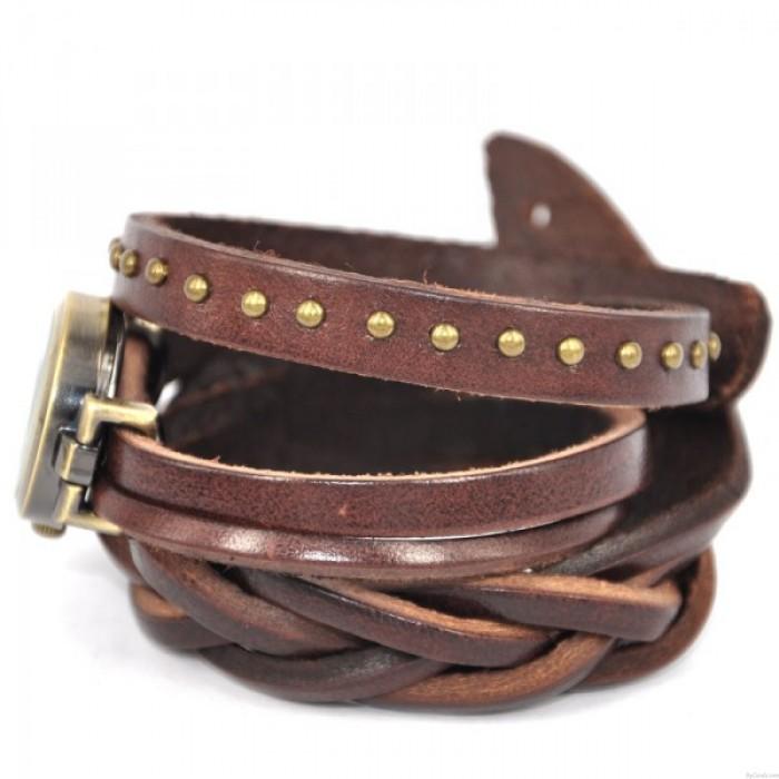 Dark Brown Twist Braid Retro Rome Leather Wrap Watch