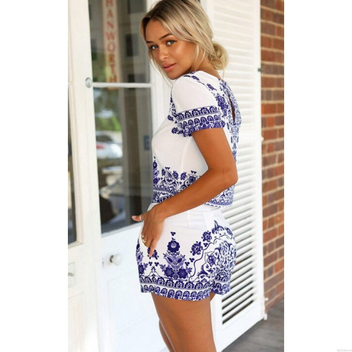 Retro Blue Porcelain Floral Printing Shorts Two Sets