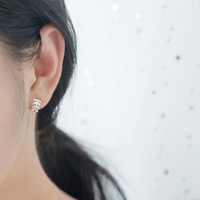 Boucle d'oreille feuille douce mignon arbre argenté feuilles boucles d'oreilles goujons cadeau pour fille