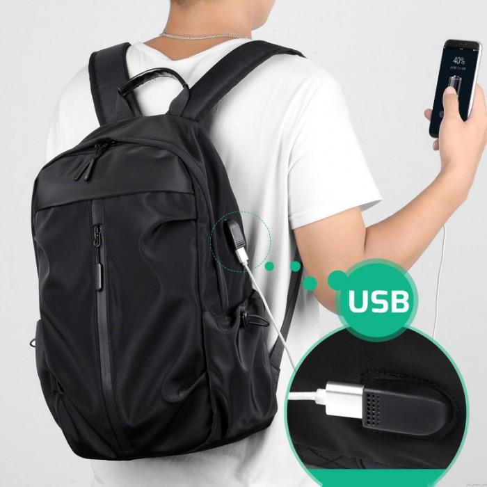 Simple Vertical Fermeture Éclair Voyage Sac À Dos Ordinateur Portable École USB Charge Casque Port Sac À Dos Étanche