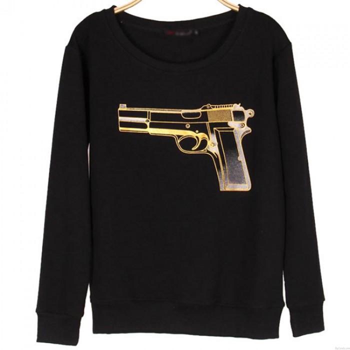 Pull à capuche impression de pistolet exotiques simple Pull à manches longues pour femmes