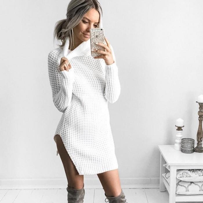 Jupe robe pull sexy à manches longues hiver split col haut femmes
