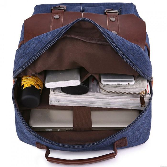 Sac à bandoulière en cuir rétro Rabat grande école épissage PU Sac à dos en toile deux poches imperméable à l'eau Voyage