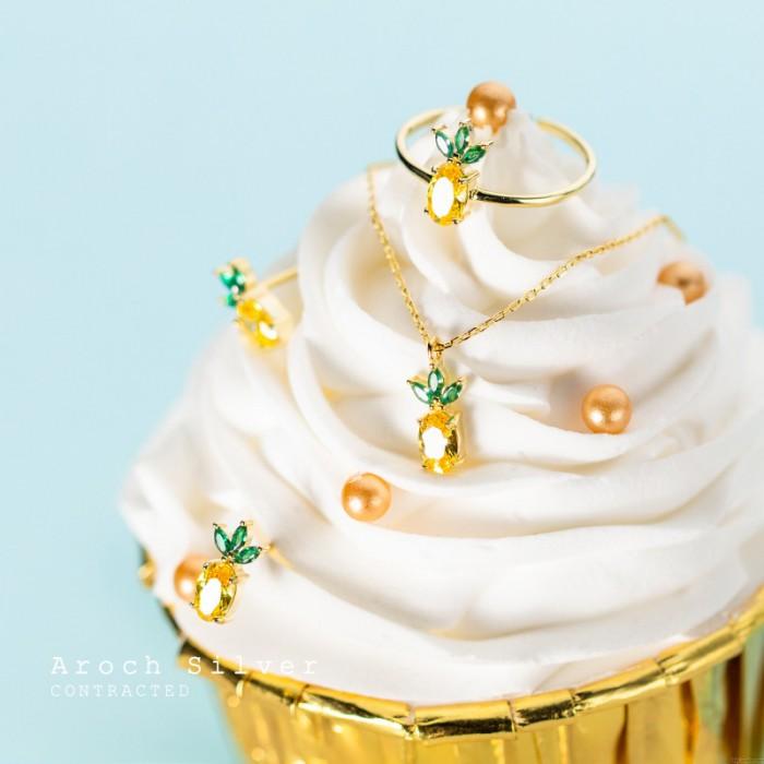 Pendentif ananas mignon couronne d'or Fruits 925 anneaux en cristal d'argent boucles d'oreilles clous collier femme