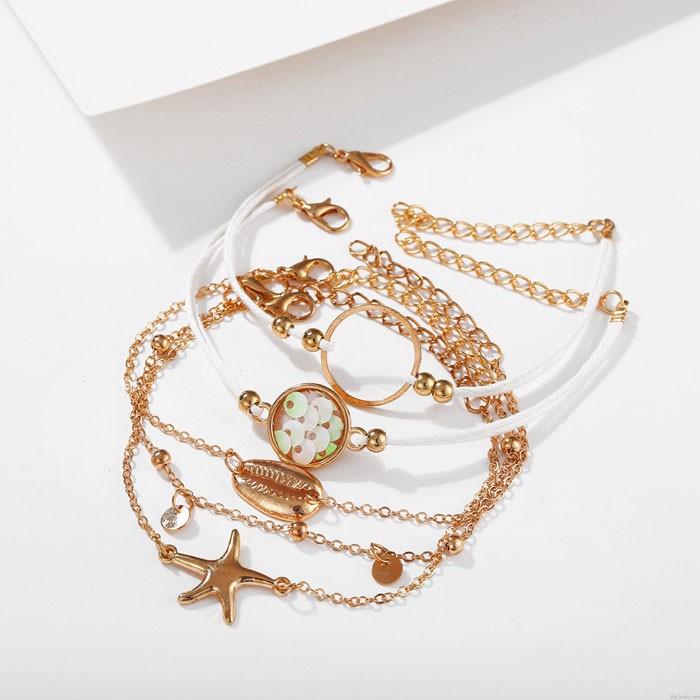 Rétro Plage Étoile de mer Shell créatif Bracelet 5 pièces