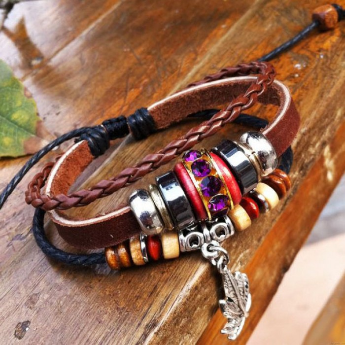Bracelet en cuir rétro trèfle